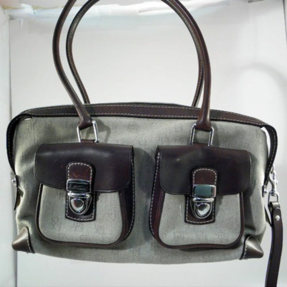 Dooney and Bourke Beige and Dark Brown Satchel