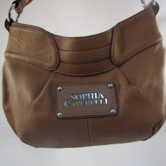 Sophia Caperelli Brown Pebble Leather Hobo Bag