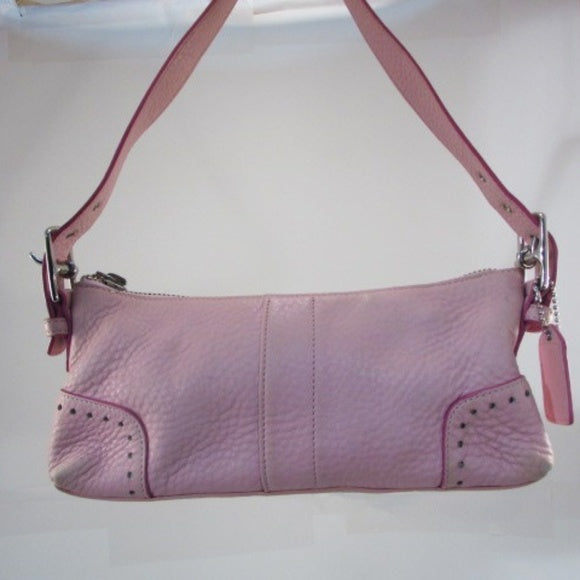 Coach Bag Pink Pebbled Leather Mini Shoulder Bag