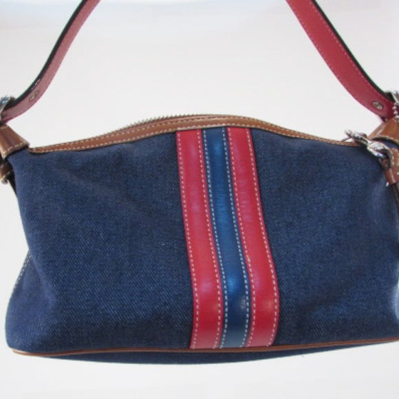 Coach Small Leather and Denim Shoulder Bag