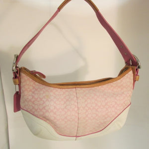 Coach Pink and White Baguette Bag