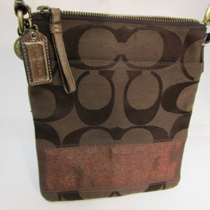 Coach Brown and Bronze Signature Crossbody