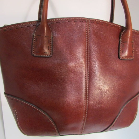 Fossil Brown Leather Dual Top Handle Shoulder Bag