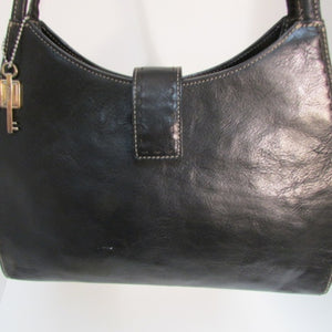 Fossil Black Leather Dual Handle Shoulder Bag