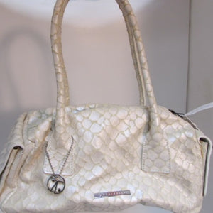 **GORGEOUS** Coccinelle Hand Crafted Cream Leather Handbag