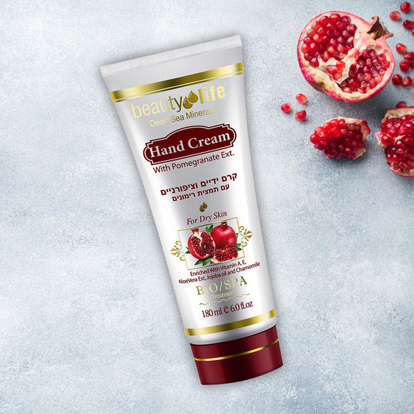 Hand Cream with Pomegranate Ext 180 ml - Aroma Dead Sea