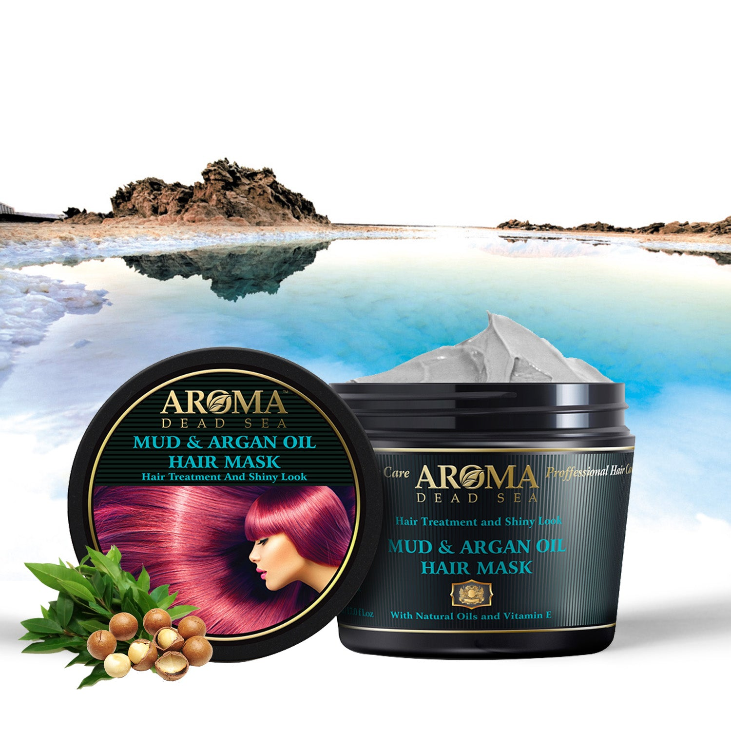 Black Mud & Argan Oil Hair Mask 500 ml - Aroma Dead Sea