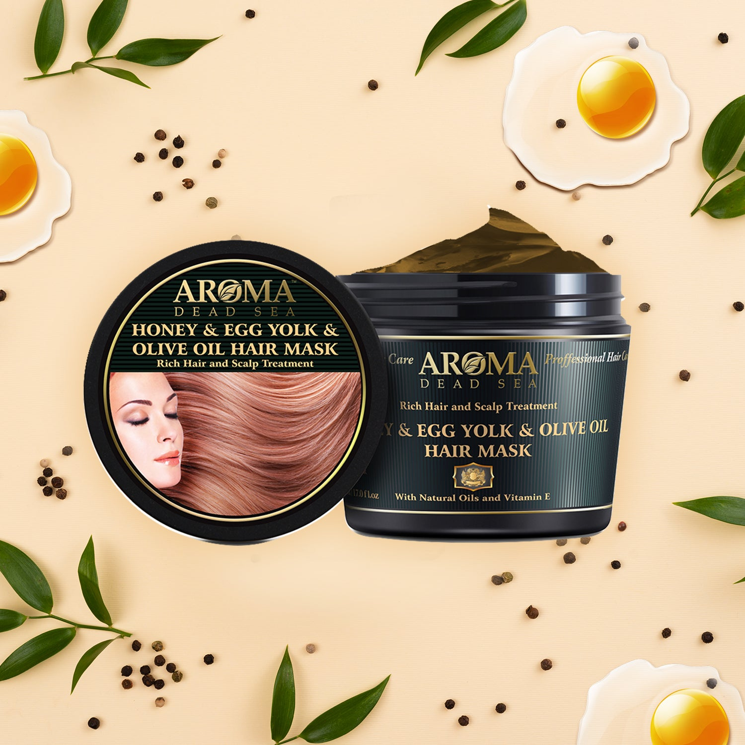Natural Honey & Egg Yolk Ext & Olive Oil Hair Mask 500 ml - Aroma Dead Sea