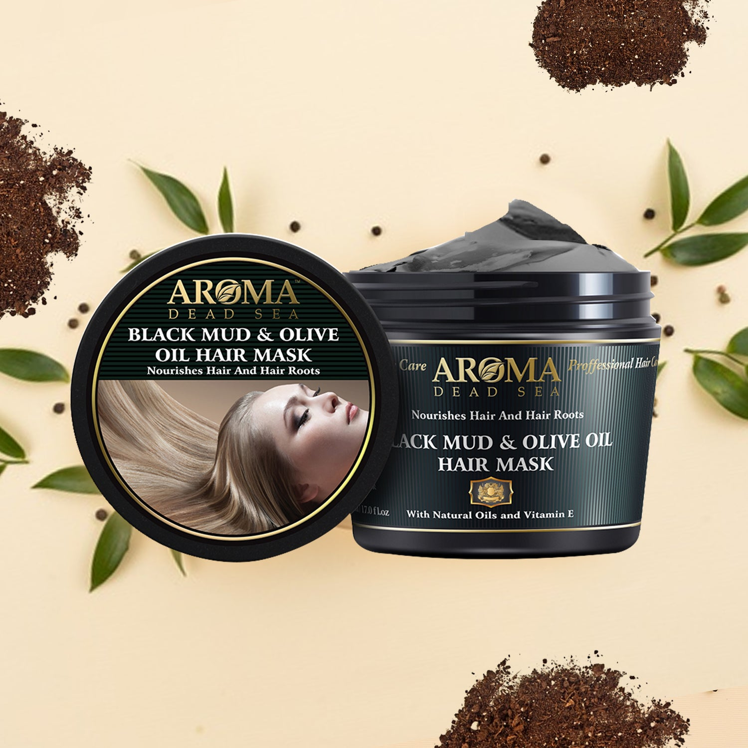 Black Mud & Olive Oil Hair Mask 500 ml - Aroma Dead Sea