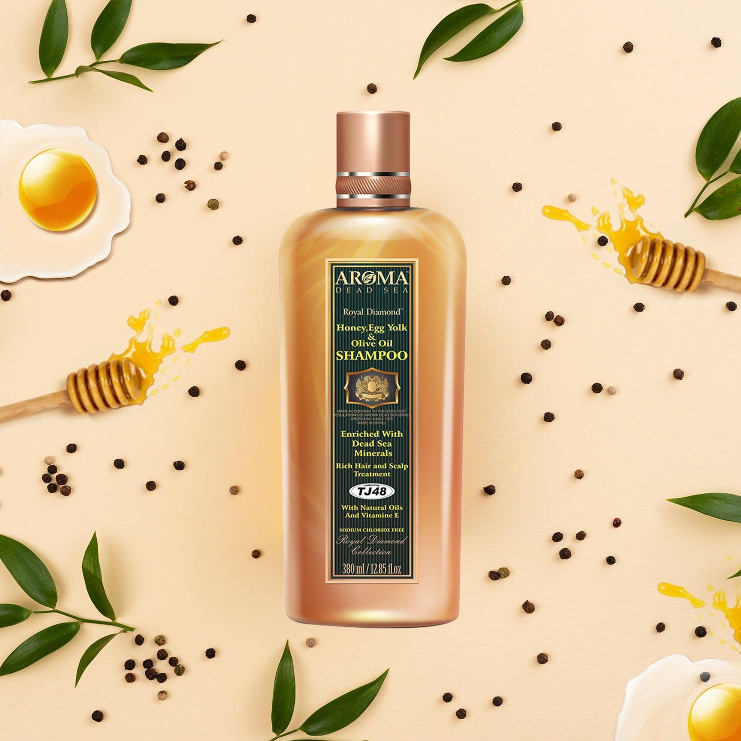 Honey & Egg yolk & Olive Oil Shampoo - Aroma Dead Sea