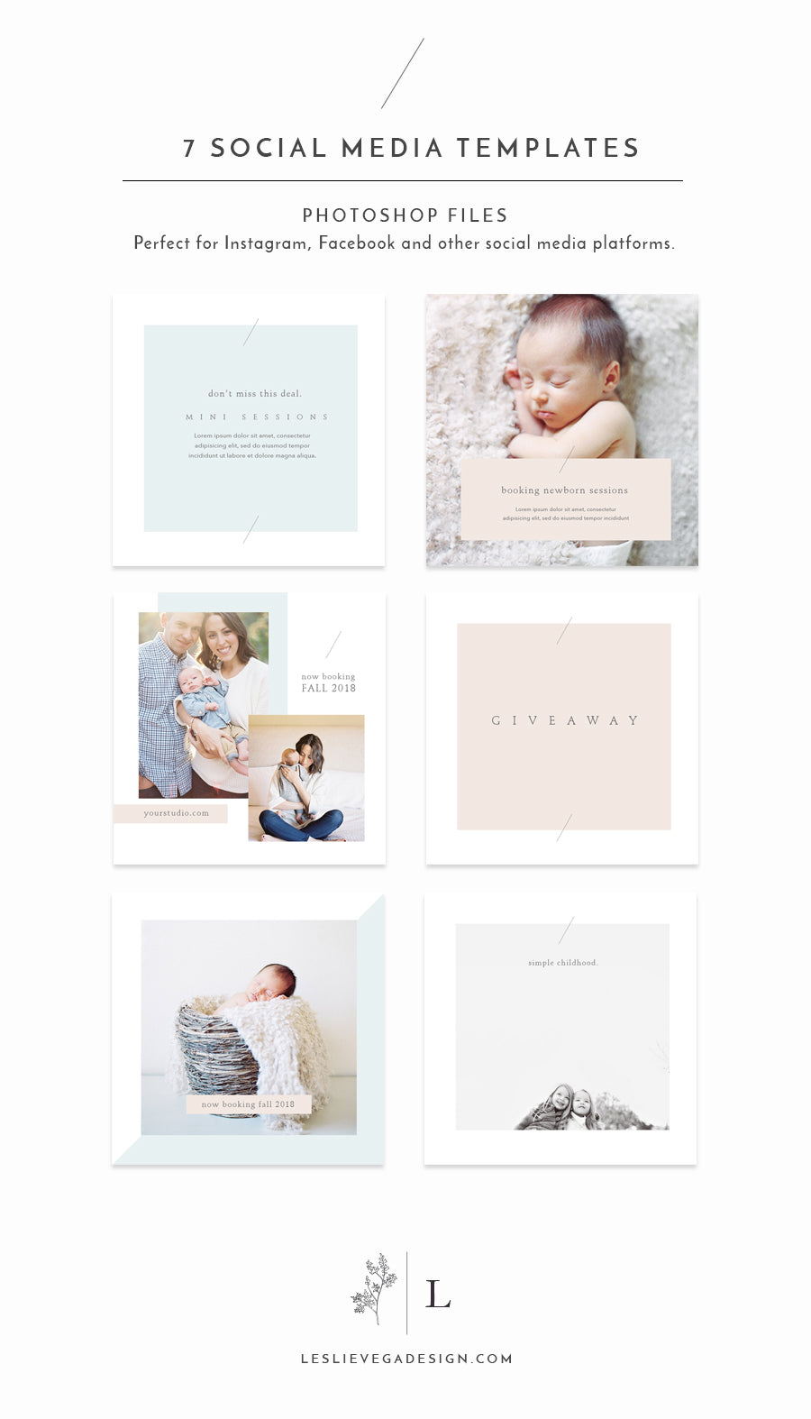Instagram Social Media Photoshop Template - OLIVIA