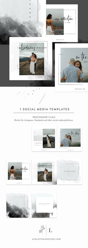 Instagram Social Media Photoshop Template - PRISCILLA