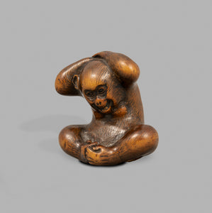 Netsuke - Monkey and Persimmon Fruit