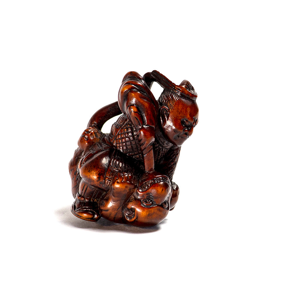 Netsuke - Li No Hayata slaying the Nue