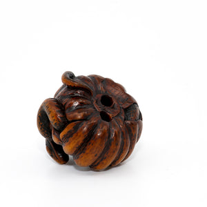 Netsuke – Snake winding its way through a rotting pumpkin