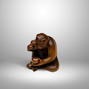 Netsuke – Monkey Eating a Peach