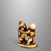 Load image into Gallery viewer, Netsuke - Daikoku and Fukurokuju Sumo Match