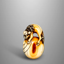 Load image into Gallery viewer, Netsuke – Shishi on a Tama