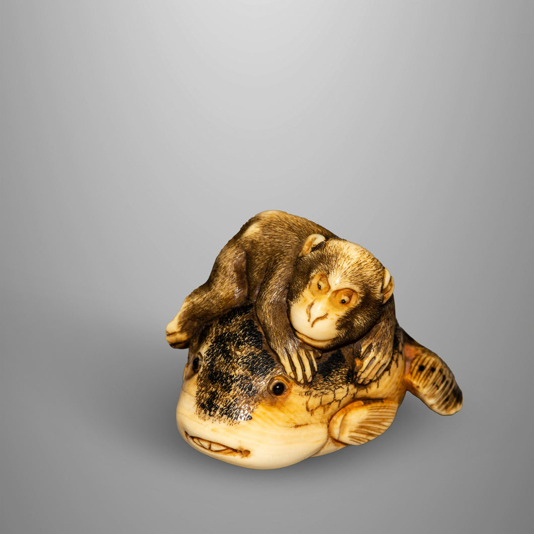Netsuke – Monkey and Fugu Fish