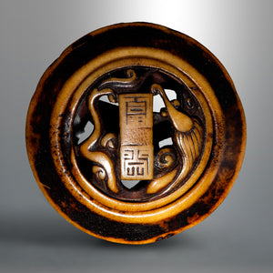Kagamibuta-style Netsuke – Rain Dragon and Auspicious Items