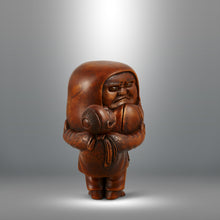 Load image into Gallery viewer, Netsuke - Boy Carrying a Daruma Doll