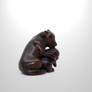 Netsuke – Mother with Young Pup
