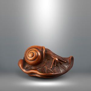 Netsuke - Snail On Folded Lotus Leaf