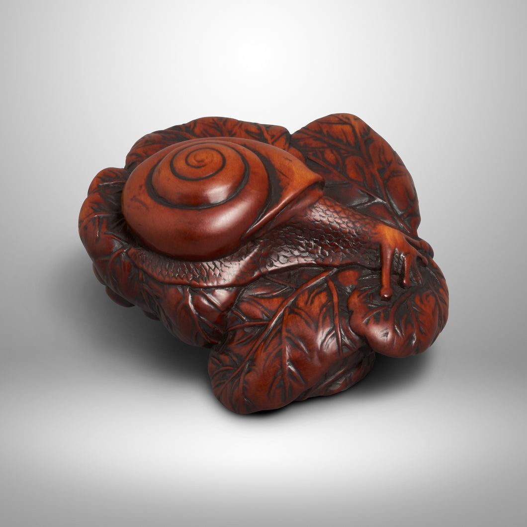 Netsuke – Snail on Leaves