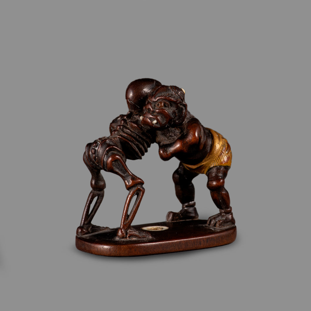 Netsuke - Oni and Skeleton