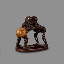 Load image into Gallery viewer, Netsuke - Oni and Skeleton