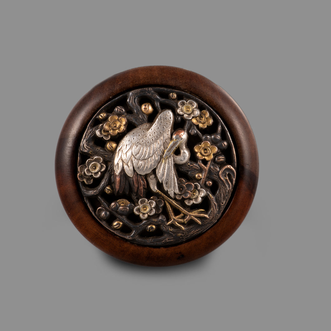 Netsuke – Crane and Blossoms