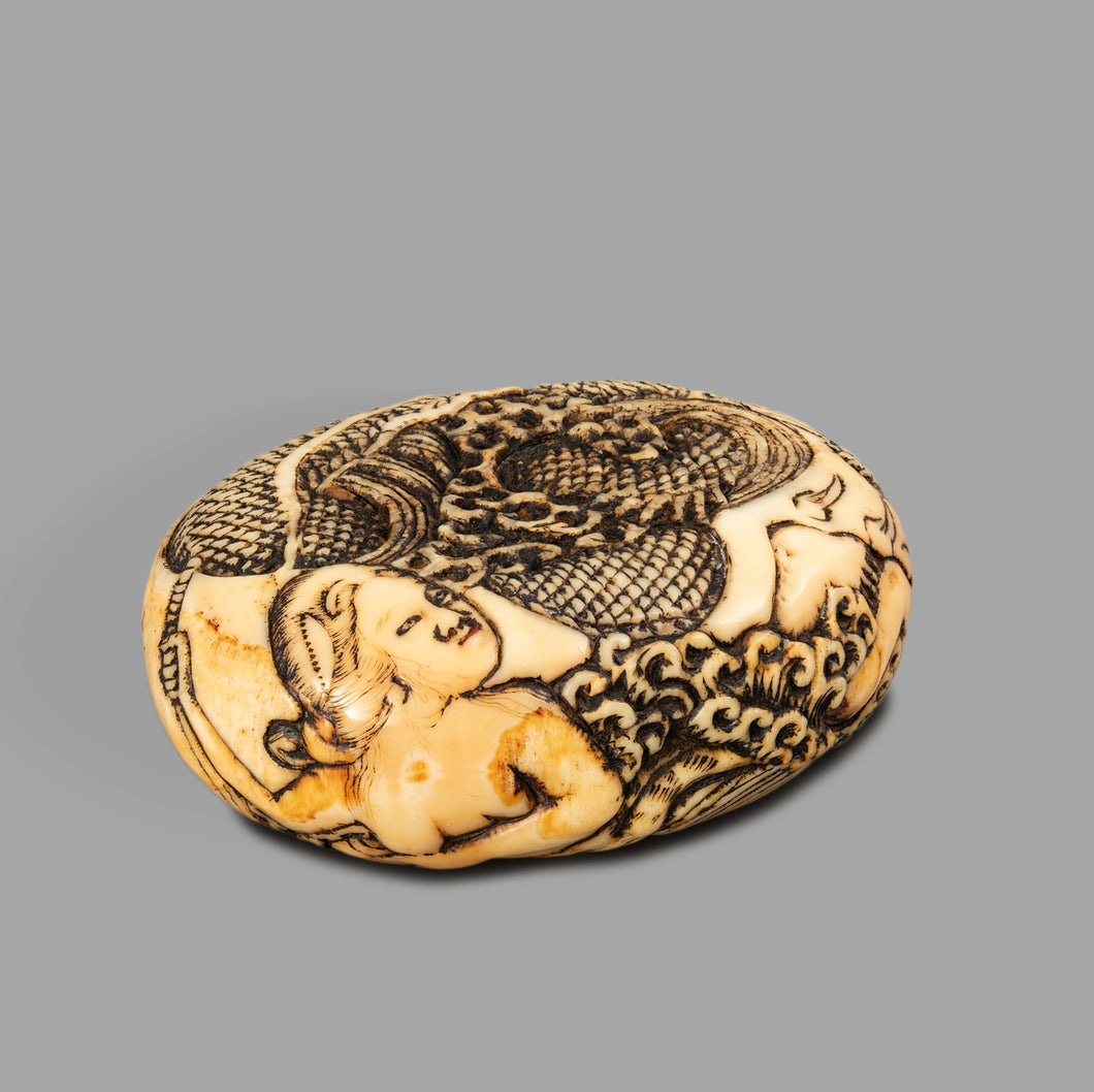 Netsuke – Kamatari and the Muge Hojiu No Tama