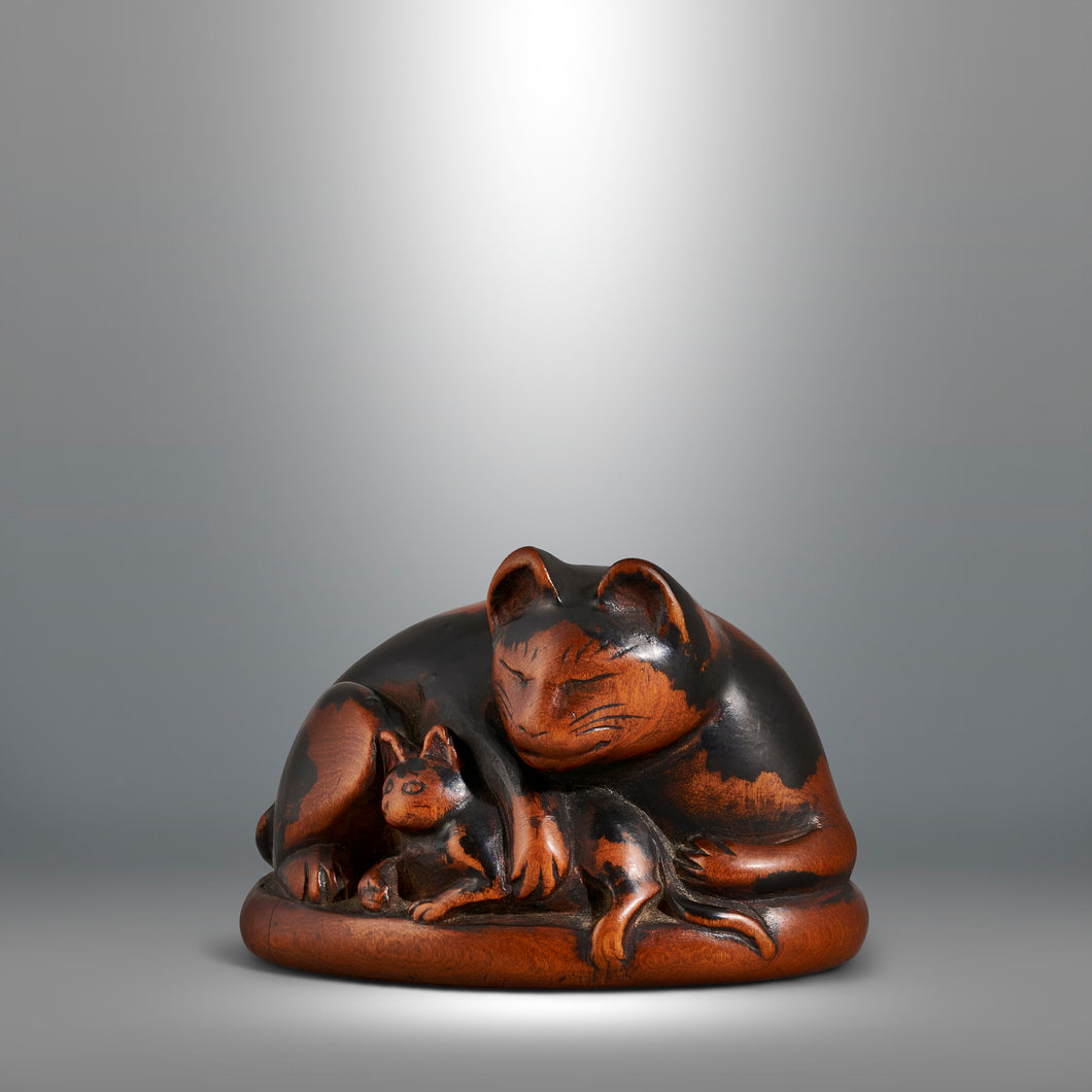 Netsuke - Cat with Kitten