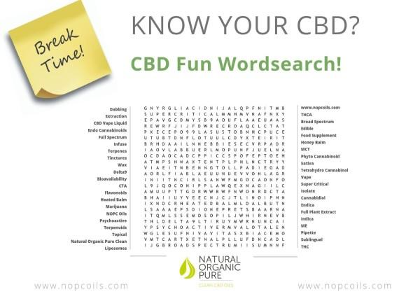 CBD Fun - Take a Break with our CBD Wordsearch - Natural Organic Pure Clean CBD Oils | NOPC OIls-www.nopcoils.com