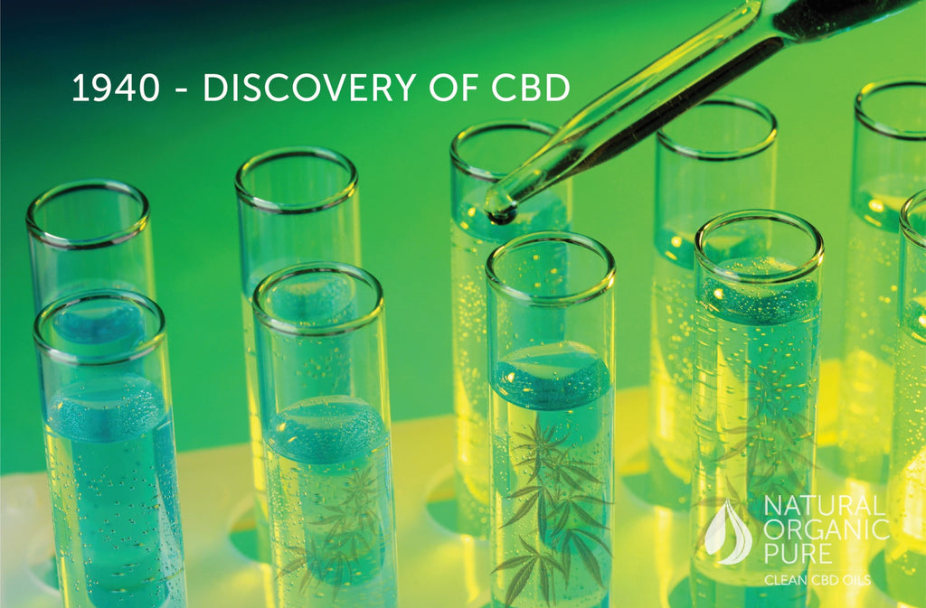 Close up of science lab tubes with cannabis leaf and CBD Oil | Heading 1940 Discovery of CBD | Natural Organic Pure Clean CBD Oils-nopc oils