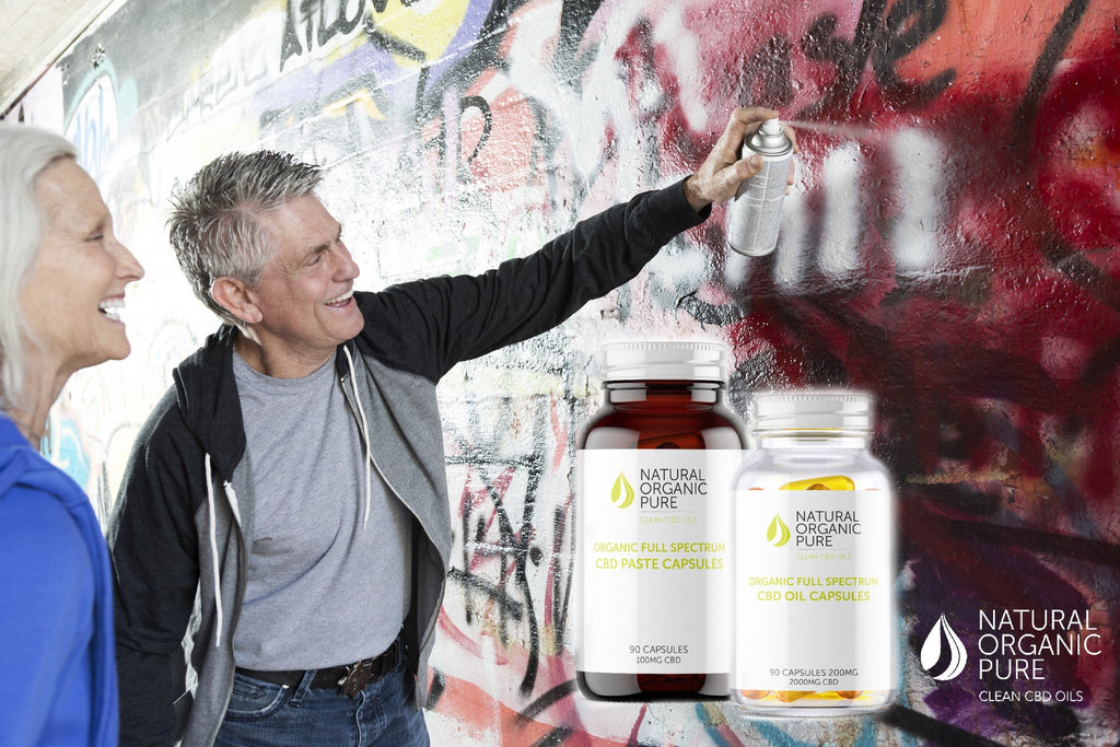 senior couple graffiti | nopc cbd oil