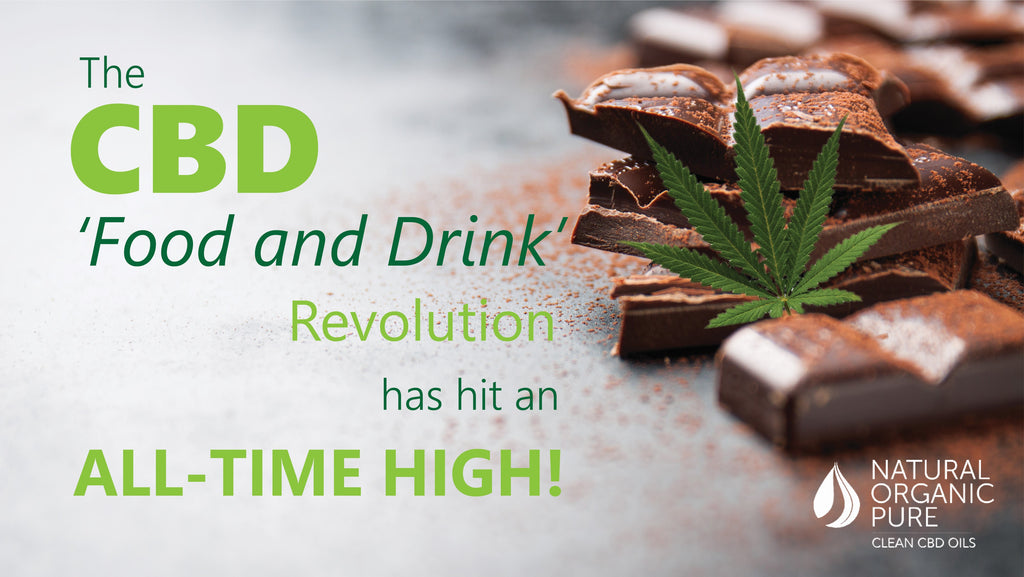 CBD Edibles | CBD Oil infused chocolate | cannabis leaf with title | The CBD Food and Drink Revolution | Natural Organic Pure Clean CBD Oils