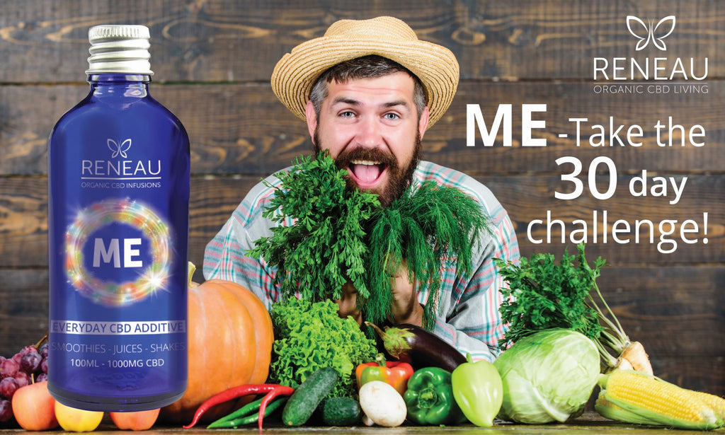 CBD Edibles | 1000MG CBD Oil |Man with fruit and vegetables | Bottle of Reneau <ME | Everyday CBD Additive for smoothies | CBD Juices | CBD Shakes | by Natural organic pure clean CBD Oils