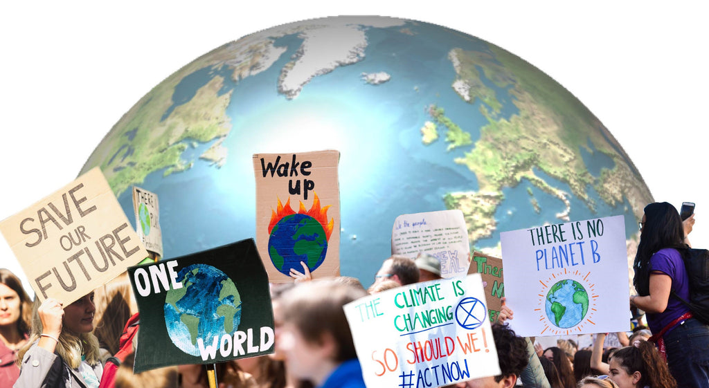 climate protestors with banners around a picture of the earth-hemp facts nopc oils