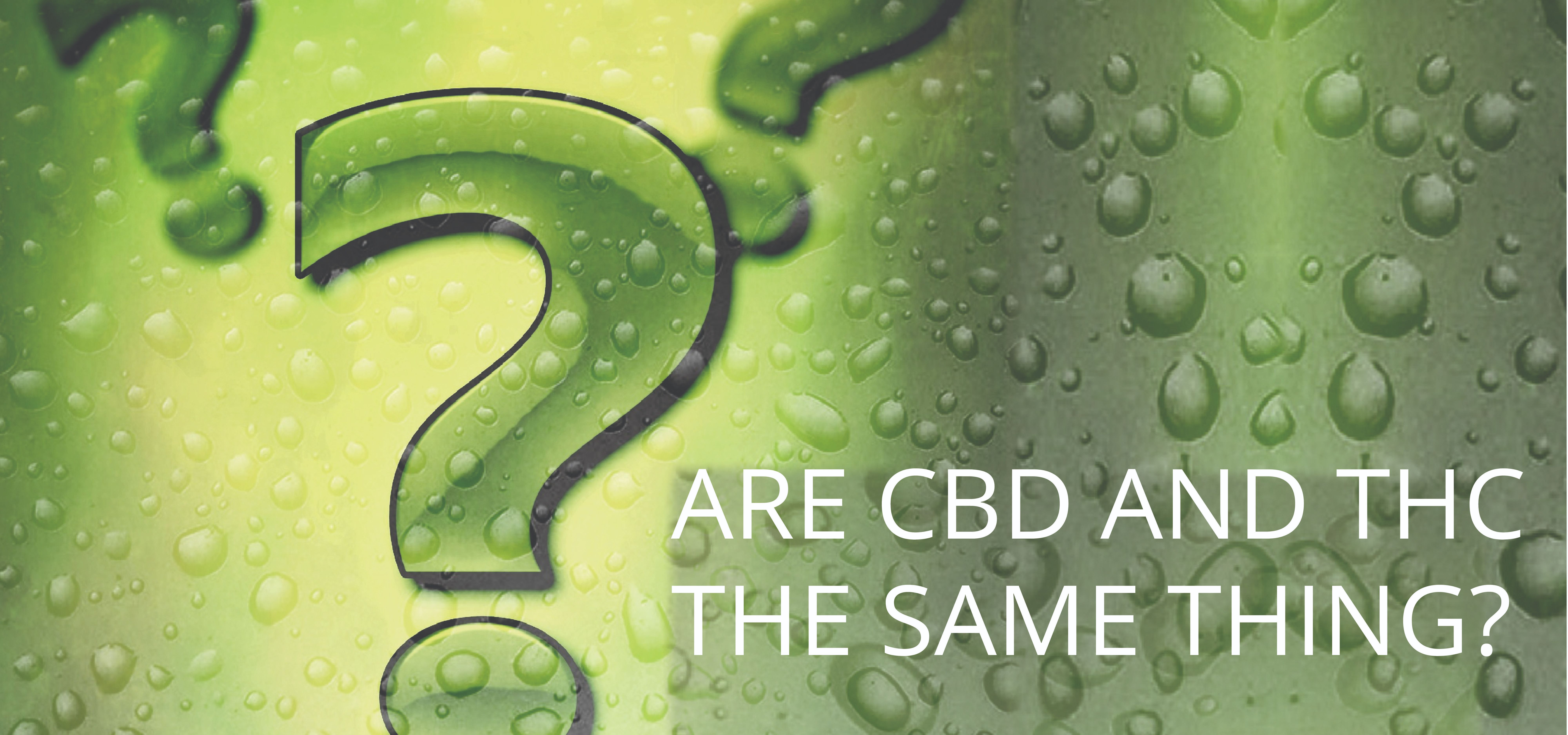 Green plant background with question mark and cbd oil drops_customer question_Are CBD and THC the same thing?_Natural Organic Pure clean CBD oils