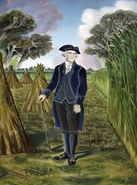 Artist image of george washington surrounded by his hemp crop | natural organic pure clean CBD Oils