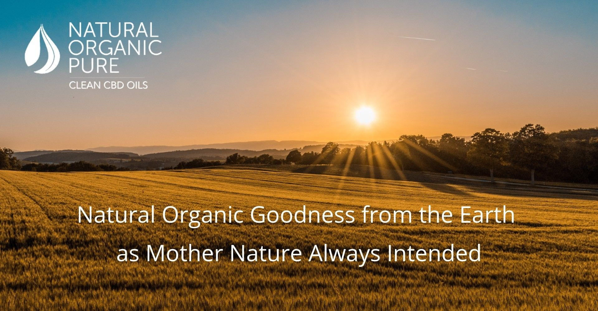 Organic image of field with sunset | title Natural Organic Goodness from the earth as mother nature always intended | Natural Organic Pure Clean CBD Oils