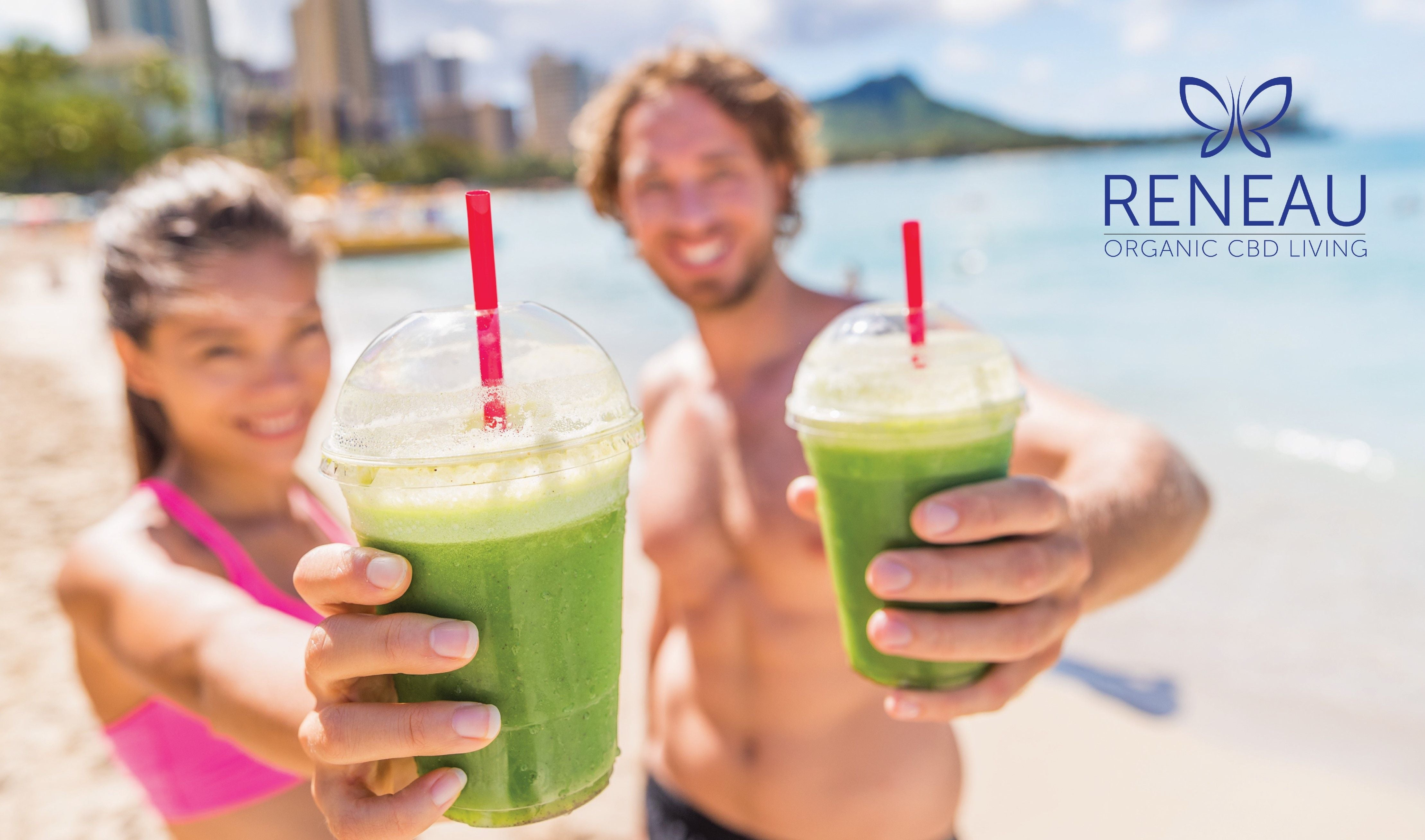 Fitness couple with cbd smoothies | Infused using Reneau ME | Everyday CBD additive | Natural Organic Pure Clean CBD Oils