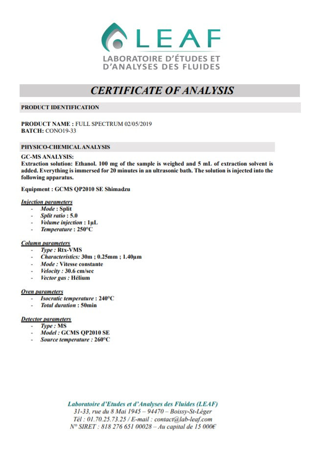 lab test analysis cert page 1 -nopc-oils