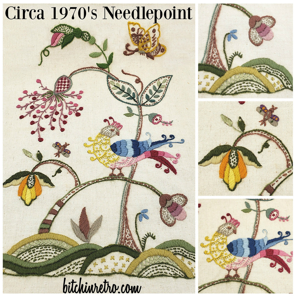 1970's Vintage Floral Needlepoint at bitchinretro.com