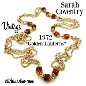 Sarah Coventry Vintage 1972 Golden Lanterns Necklace at bitchinretro.com
