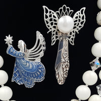Vintage Jewelry Lot Monet Angel Brooch White Beaded Necklace Artisan Angel Pin