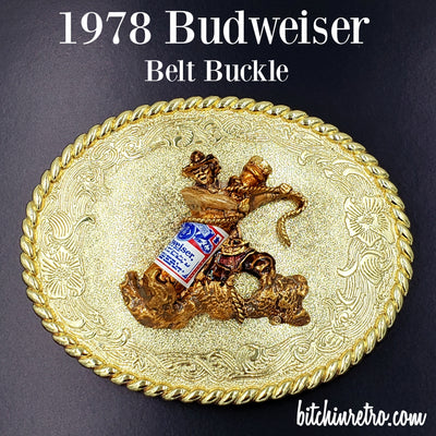 1978 Raintree Budweiser Beer Belt Buckle at bitchinretro.com