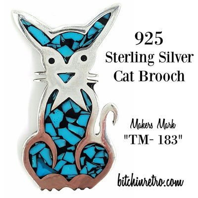 925 Sterling Silver Cat Brooch Marked TM-183 at bitchinretro.com