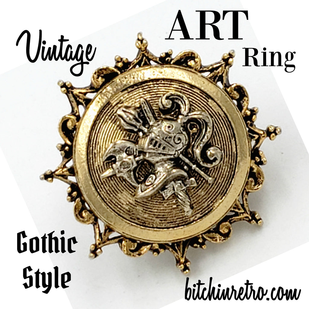 ART Arthur Pepper Vintage Knight or Crest Ring at bitchinretro.com